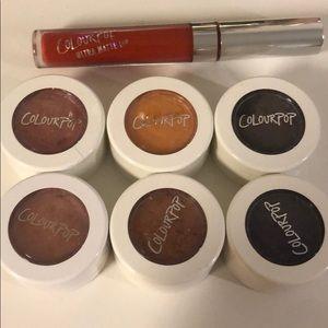 Color Pop super shock eyeshadow x6, lip gloss x1